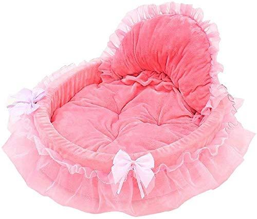 Prinzessin Bow-Haustier-Bett mit Decke und herzförmigen Kissen Short Plüsch Removable Kissen...