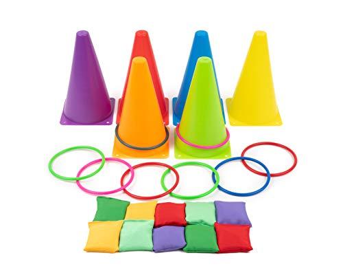 3 in 1 Party Wurfspiele im Freien - Ringwurfspiel mit Weiche Kegel. Bohnen Taschen - für Kinder &...