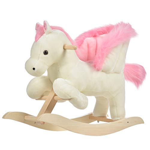 HOMCOM Kinder Schaukelpferd Baby Schaukeltier Pferd mit Tiergeräusche Spielzeug Haltegriffe für 18-36...