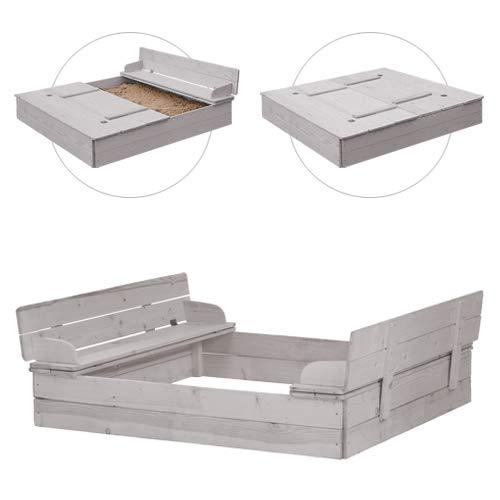 roba Sandkasten mit Deckel aufklappbar zu 2 Bänken, Massivholz, wetterfest, grau, 21,5x127x123,5cm