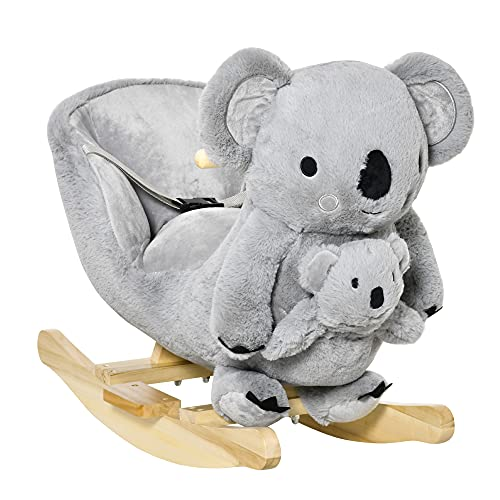 HOMCOM Schaukelpferd Plüsch Schaukeltier Babyschaukel mit Koala-Rufen Spielzeug für 18-36 Monaten...