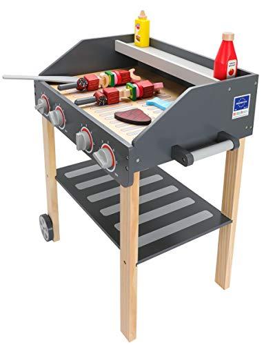 Mamabrum Holz Grill für Kinder BBQ für Kinder Gartenspielzeug für Mädchen und Jungen, Kinderküche...