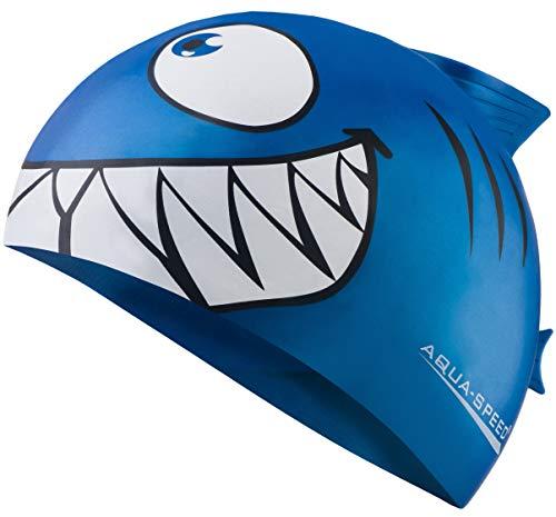 Aqua Speed Set Kids Swimming Cap | Badekappe Mädchen & Jungen | Kinder Schwimmkappe wasserdicht | Blaue...