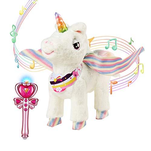 ZhanXiang Einhorn Plüsch Elektronisches Haustier Spielzeug,Zauberstab Fernbedienung Haustier Spielzeug,...