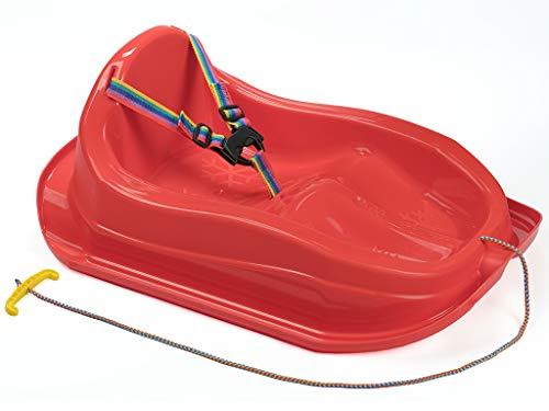 MARMAT Kinder Schlitten mit Sicherheitsgurt bis 3 Jahre (Rot)