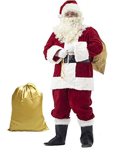 Ahititi Weihnachtsmann Kostüm Deluxe, Nikolauskostüm Santa Claus-Erwachsenenkostüm 10-Teilig L