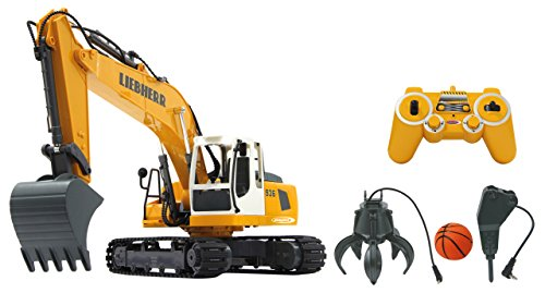 Jamara - 405112 Bagger Liebherr R936 1:20 2,4G Destruction-Set - inklusiv Schalengreifer und...