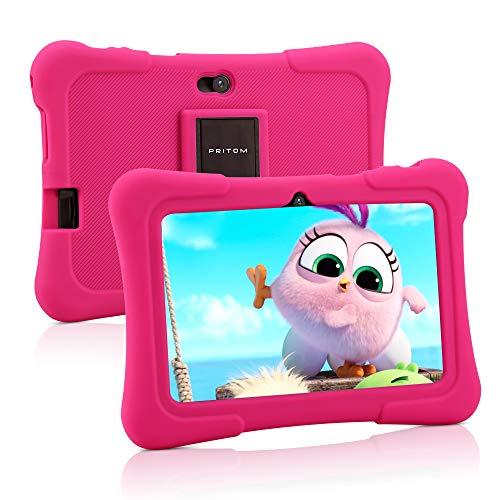 Pritom 7 Zoll Kindertablet, Quad Core Android, 1 GB RAM + 16 GB ROM, WiFi, Bluetooth, Dual...