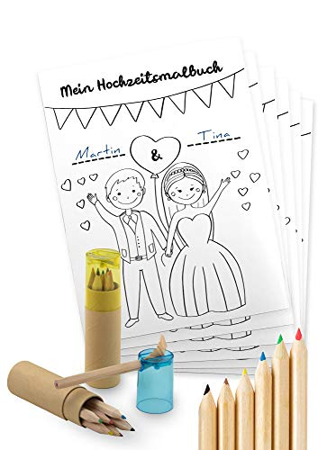 von Rafenstein Hochzeitsmalbuch und Buntstifte mit Spitzer zur Beschäftigung der Kinder auf der...