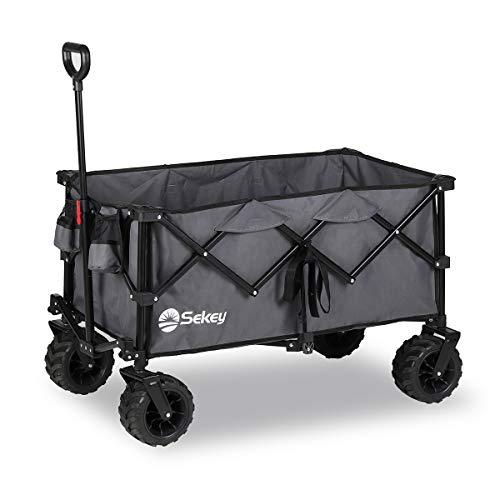 Sekey Faltbarer Bollerwagen, tragbarer Strandwagen Außenwagen Faltwagen, Trolley Outdoor Folding Wagon,...