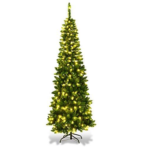 COSTWAY 135/200/225cm Bleistift Weihnachtsbaum mit warmweißen LED-Leuchten, künstlicher Tannenbaum mit...