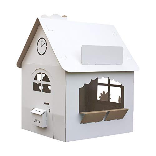 Papphaus | EcoEdu House | Das große Kartonhaus für Kinder | Karton Spielhaus, zum Spielen und Malen |...