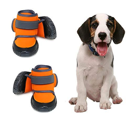 JiAmy Hundeschuhe wasserdichte Hundestiefel Snow Dog Booties Hundepfotenschutz mit Rutschfester Sohle,...