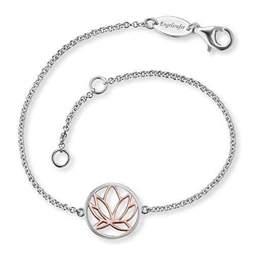 Engelsrufer - silberne Armbänder Bicolor Lotusblüte, Lotusblume in rose für Damen, Armkettchen aus 925...