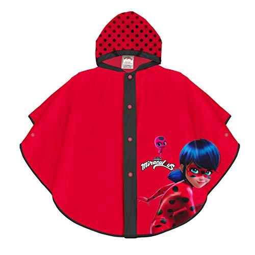 PERLETTI Miraculous Ladybug Regenponcho - Lady Bug Regen Mantel für Mädchen - Wasserdichtes Regencape...