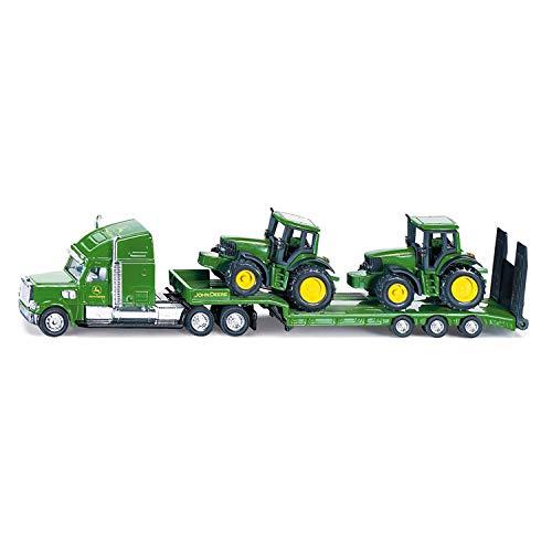 siku 1837, Tieflader mit 2 John Deere Traktoren, 1:87, Metall/Kunststoff, Grün, Klappbare Heckklappe
