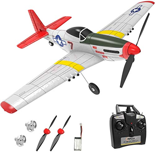 Top Race RC Flugzeug 2,4 GHz 4-Kanal Fernbedienung Flugzeug Kriegsflugzeug Mustang Flugbereit,...
