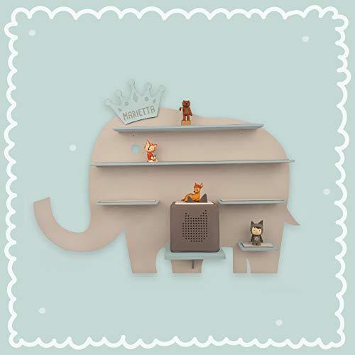 Kinder Regal'Elefant' passend für die Toniebox und ca. 30 Tonie Figuren – Wandregal für...