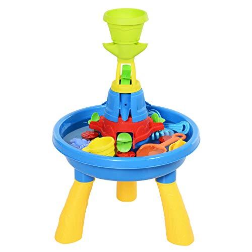 HOMCOM Kinder Spieltisch, Sandkastentisch mit 21-tlg. Zubehör, Wasserpark, Lernspielzeug, Baby Spielzeug...