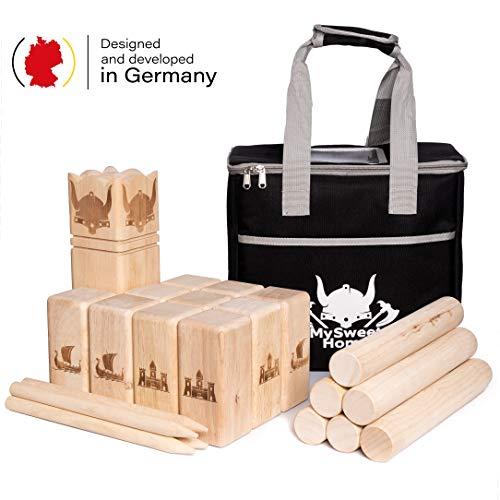 MSH Wickingerschach Holz [Premium] Vikinger Schach aus Gummibaum Holz – Kubb Spiel für Erwachsene und...