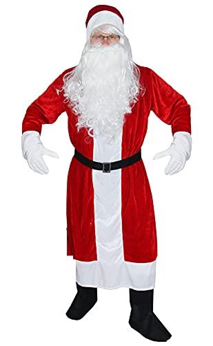 Foxxeo 6-teiliges Premium Weihnachtsmann Kostüm mit Mantel für Herren - Größe M-XXXXL,...