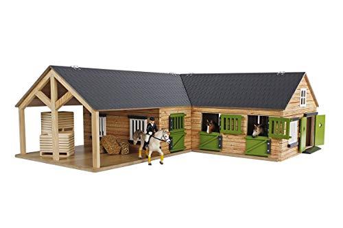 Kids Globe 610211 Pferdehof aus Holz-Maßstab 1:24, naturfarben, mit 3 Boxen, beweglichen Türen, Fenster...
