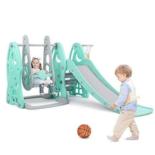 Bamny Kinder Rutsche mit Schaukel 3 in 1 Kinderrutsche Babyschaukel Basketballkorb mit Verdickter...