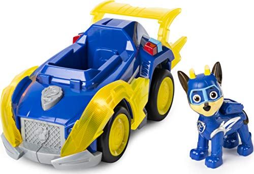 PAW Patrol 6054192 Mighty Pups Super Paws Polizeiwagen mit Chase-Figur (Basic Themed Vehicle)