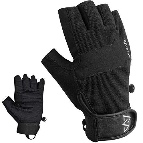 Igoera Kletterhandschuhe mit hochwertigen u. robusten Nähten, Fingerhandschuhe zum Klettern u. Bouldern...
