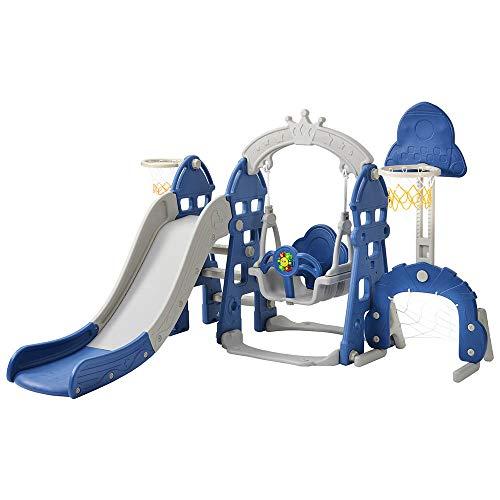 5 in 1 Kinderrutsche Spielturm Rutsche Kinder Kunststoff Multifunktionale Kleinkinderrutsche mit Schaukel...