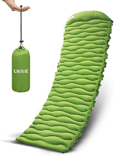 LHNK Camping Isomatte Aufblasbare Ultraleicht Schlafmatte Mit Schwammkissen, Anschließbar kompakte...