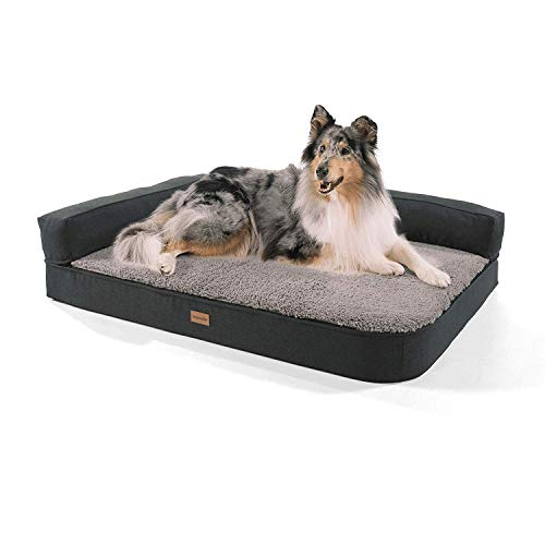 Brunolie Odin Hundesofa, waschbar, orthopädisch und rutschfest, Hundekissen mit Abnehmbarer Lehne,...