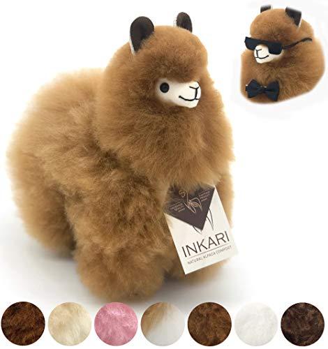 Alpaka Stofftier aus echter Alpaka-Wolle - handgefertigte Unikate, fair und nachhaltig produziert, weiß...