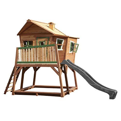 AXI Spielhaus Max mit Sandkasten & Grauer Rutsche | Stelzenhaus in Braun & Grün aus FSC Holz für Kinder...