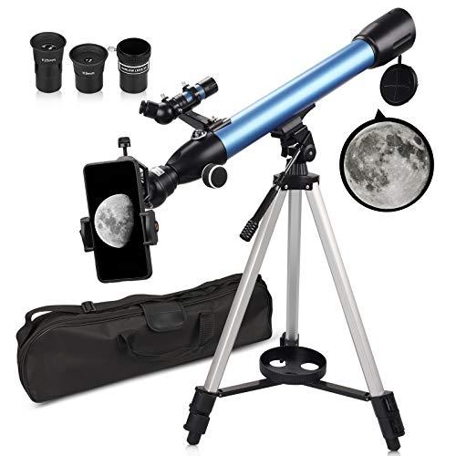 QUNSE Teleskop Astronomie 60/500 20x-200x Fernrohr Teleskop für Kinder Einsteiger Amateur-Astronomen mit...