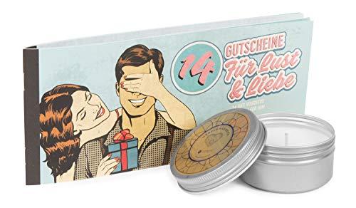Deluxe Verwöhnset 14 Gutscheine für Lust & Liebe (für Ihn) & Deluxe Massagekerze herzerwärmend mit...