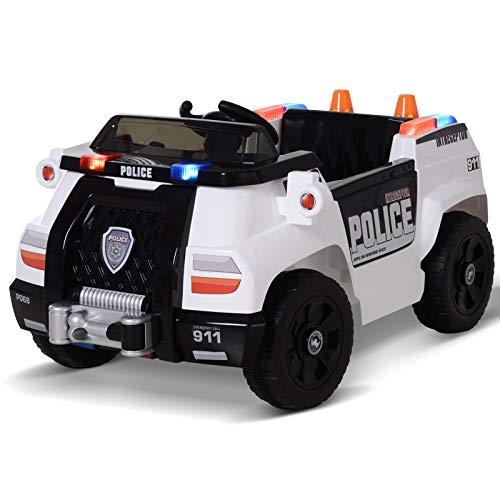 HOMCOM Kinderauto Kinderfahrzeug Elektroauto Polizeiauto mit Fernbedienung MP3 3–6 Jahre PP 106,5 x 66...