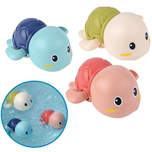 Badewannenspielzeug Schildkröten, 3er Set BPA frei und Schadstoff-frei zertifiziert, Mechanik zum...