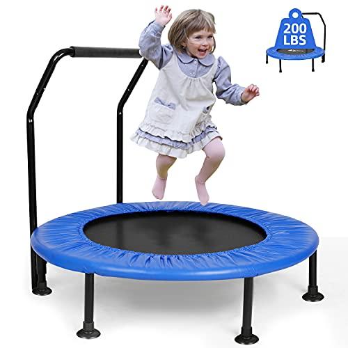 Mini Trampolin für Kinder ø101cm, 4-Falten Klappbar wasserdicht bis 100kg mit Saugnapf-Fußpolster...