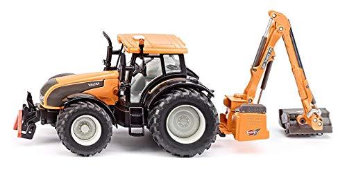 SIKU 3659, Valtra Traktor mit Kuhn Böschungsmähwerk, 1:32, Metall/Kunststoff, orange, Abnehmbare...