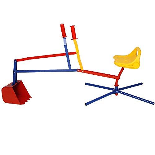 Sandbagger Sitzbagger 126,5 x 35,5 x 58,5 cm Kippschaufel 360° Radius bis 40kg Metall Sandkastenbagger...