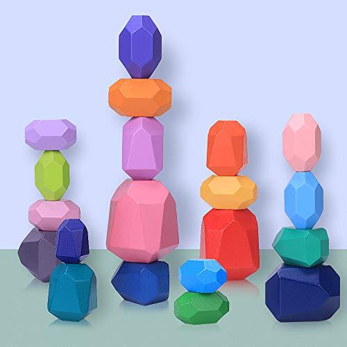 Balanciersteine Holz Stapeln Spielzeug, 20 Teilig Montessori Holzspielzeug Farbiger Meditations Balancier...