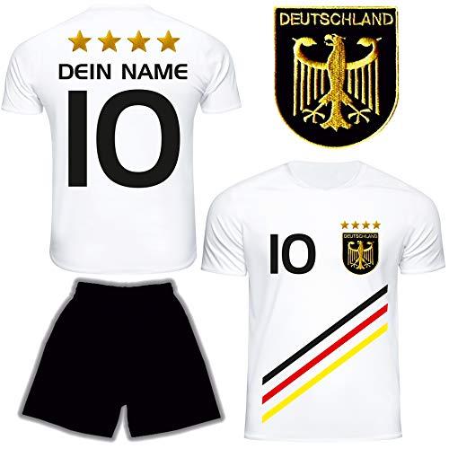 DE FANSHOP Deutschland Trikot mit Hose & GRATIS Wunschname + Nummer #D13 2021 2022 EM/WM Weiss - Geschenk...