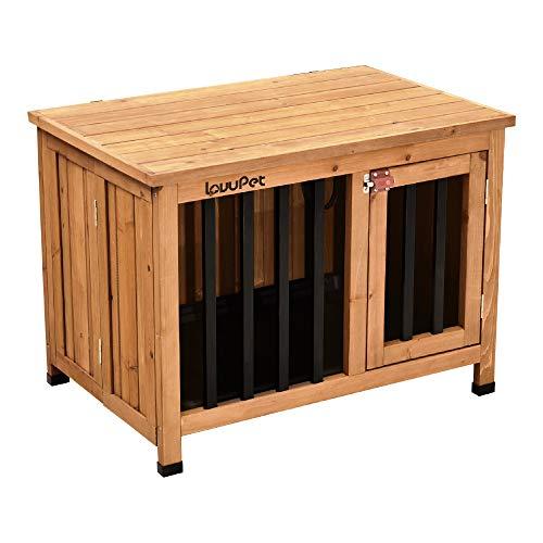 Lovupet tragbare Faltbare Hundehütte Hundehaus Hundebox aus unbehandeltem Holz, Indoor und Outdoor 0651D