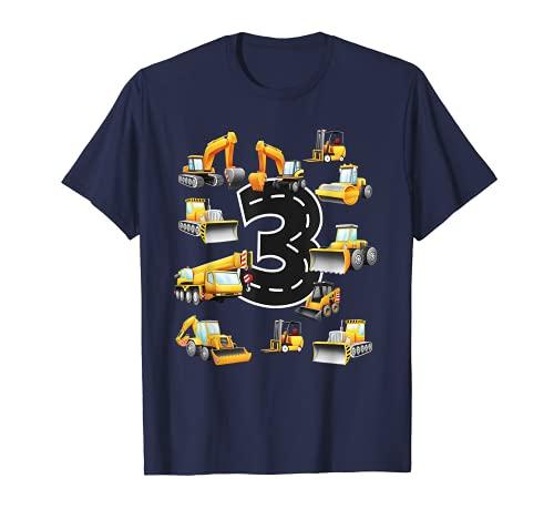 Jungen zum 3. Geburtstag 3Jahre old Geburtstag Bagger T-Shirt