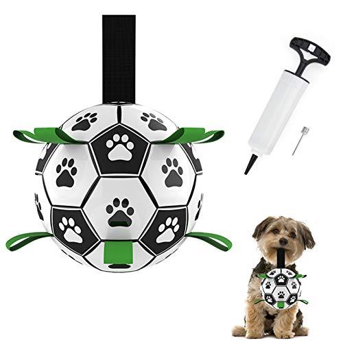 HONEYWHALE Hundespielzeug, Fußballball mit Greiflaschen, interaktives Hundespielzeug mit Ballpumpe und...