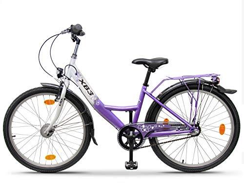 XB3 24 Zoll Damen-Mädchen-Kinder-Jugend-Fahrrad, Shimano Nabendynamo 3 Gang-Schaltung, Nabenschaltung,...