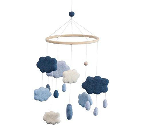 Sebra - Filz-Babymobile - Wolken - denim blue - Wolle / Holz - H: 57 cm - D: 22 cm