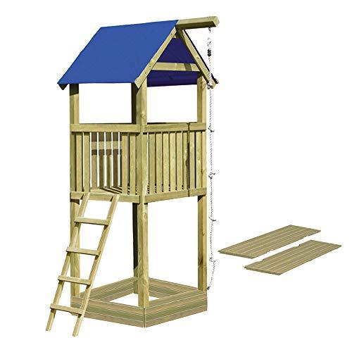 Gartenpirat Spielturm Alto aus Holz 9x9 mit Sandkasten und Deckel 350 cm hoch
