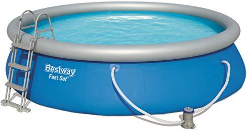 Bestway Fast Set Rund Pool Set, mit Filterpumpe plus Zubehör, blau, 457x107 cm